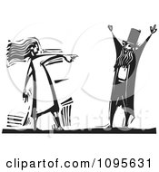 Clipart Woman Pointing Her Finger At A Man Black And White Woodcut Royalty Free Vector Illustration