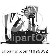 Clipart Cat Playing With A Ball Of Yarn Black And White Woodcut Royalty Free Vector Illustration