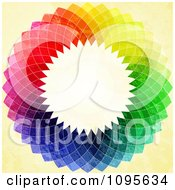 Colorful Rainbow Mosaic Circle On Yellow Grunge