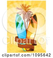 Clipart Blank Banner Around Surf Boards And Palm Trees On Orange Grunge And Flares Royalty Free Vector Illustration