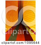 Clipart Retro Grungy Stripes Leading Forward And Up Over Grungy Orange Rays Royalty Free Vector Illustration