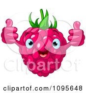 Clipart Happy Raspberry Character Holding Two Thumbs Up Royalty Free Vector Illustration