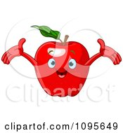 Clipart Happy Red Apple Character Royalty Free Vector Illustration by Pushkin