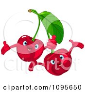 Clipart Happy Cherry Characters Royalty Free Vector Illustration