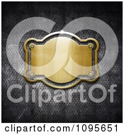 Clipart 3D Shiny Gold Frame Plaque On Grungy Metal - Royalty Free CGI Illustration by KJ Pargeter