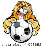Clipart Male Lion Mascot Holding Out A Soccer Ball Royalty Free Vector Illustration by Chromaco