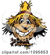 Clipart Happy Smiling Scarecrow Face Royalty Free Vector Illustration