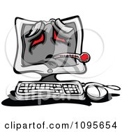 Clipart Sick Desktop PC Computer With A Thermometer And Red Eyes Royalty Free Vector Illustration