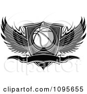 Clipart Black And White Winged Basketball Banner And Shield Royalty Free Vector Illustration by Chromaco