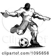 Clipart Grayscale Muscular Soccer Player Kicking Royalty Free Vector Illustration