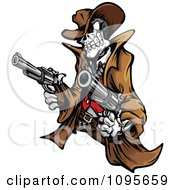 Clipart Outlaw Skeleton Cowboy Holding Two Pistols Royalty Free Vector Illustration