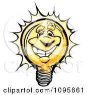 Happy Lightbulb Mascot Smiling And Shining