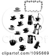 Clipart Silhouetted Black And White Coffee Mugs And Items With A Frame Royalty Free Vector Illustration by Frisko
