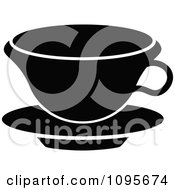 Clipart Silhouetted Black And White Coffee Mug And Saucer 6 Royalty Free Vector Illustration