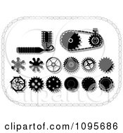 Clipart Black And White Gear Cogs Gears And Mechanical Items In A Chain Frame Royalty Free Vector Illustration