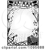 Clipart Black And White Stage Lighting And Music Frame Royalty Free Vector Illustration by Frisko