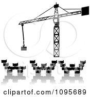 Construction Crane Constructing Www Out Of Heavy Blocks Work In Progress