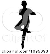 Clipart Silhouetted Male Ballerino Ballet Dancer Dancing 1 Royalty Free Vector Illustration by Frisko