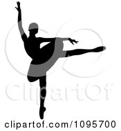 Clipart Silhouetted Elegant Ballerina Dancing 6 Royalty Free Vector Illustration