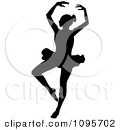 Clipart Silhouetted Elegant Ballerina Dancing 5 Royalty Free Vector Illustration