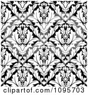 Clipart Black And White Triangular Damask Pattern Seamless Background 18 Royalty Free Vector Illustration