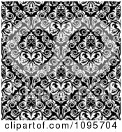 Clipart Black And White Triangular Damask Pattern Seamless Background 16 Royalty Free Vector Illustration