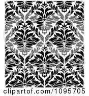 Clipart Black And White Triangular Damask Pattern Seamless Background 17 Royalty Free Vector Illustration