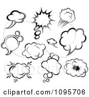 Clipart Black And White Comic Though And Sound Balloons Royalty Free Vector Illustration by Vector Tradition SM