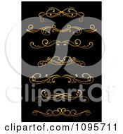 Clipart Golden Flourish Rule And Border Design Elements 11 Royalty Free Vector Illustration
