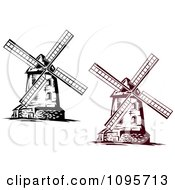 Clipart Brown And Black And White Old Fashioned Windmills Royalty Free Vector Illustration by Vector Tradition SM