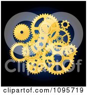 Golden Mechanical Gear Wheels Over Blue And Black
