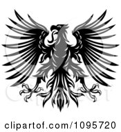Clipart Black And White Heraldic Eagle With Spanned Wings 2 Royalty Free Vector Illustration