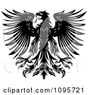 Clipart Black And White Heraldic Eagle With Spanned Wings 1 Royalty Free Vector Illustration