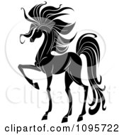 Clipart Elegant Black And White Prancing Foal Horse Royalty Free Vector Illustration