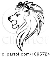 Clipart Black And White Lion Head In Profile With A Thorny Wreath Royalty Free Vector Illustration
