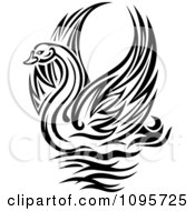 Clipart Black And White Graceful Swan Raising Its Wings Royalty Free Vector Illustration