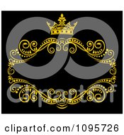 Clipart Gold Ornate Swirl Frame With A Crown And Copyspace On Black 1 Royalty Free Vector Illustration