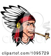 Native American Indian Chief Wearing A Feathered Headdress And Smoking A Pipe