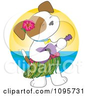 Hawaiian Puppy Wearing A Hula Skirt And Playing A Ukulele Against A Horizon
