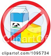 Restricted Symbol Over Cheese And Milk Products No Dairy