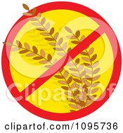 Clipart Restricted Symbol Over Wheat Gluten Allergy Royalty Free Vector Illustration