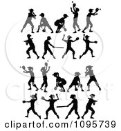 Clipart Silhouetted Boys And Girls Playing Baseball And Softball Royalty Free Vector Illustration