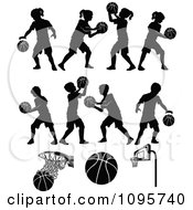 Clipart Silhouetted Boys And Girls Playing Basketball Royalty Free Vector Illustration