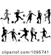 Clipart Silhouetted Boys And Girls Playing Soccer Royalty Free Vector Illustration