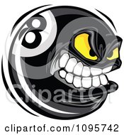 Clipart Aggressive Eight Ball Mascot Royalty Free Vector Illustration by Chromaco