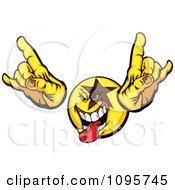 Clipart Rocker Dude Smiley Emoticon With A Star Holding Up Fingers And Sticking Out A Tongue Royalty Free Vector Illustration