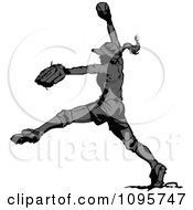 Clipart Grayscale Female Softball Player Pitching A Baseball Royalty Free Vector Illustration