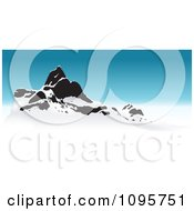 Clipart Snow Capped Mountain Peaks And Blue Sky Royalty Free Vector Illustration
