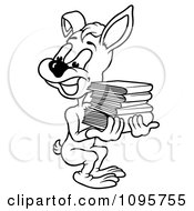 Clipart Outlined Rabbit Looking Back And Carrying Books Royalty Free Vector Illustration by dero