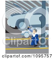 Clipart Male Mechanic Kneeling And Working Below A Car On A Lift In A Garage Royalty Free Vector Illustration by David Rey